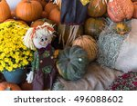 Scarecrow  Yellow Mum Flowers ...