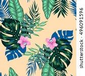 vector seamless bright artistic ...   Shutterstock .eps vector #496091596