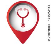 map pin symbol with stethoscope ... | Shutterstock .eps vector #496092466