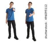 cute teenager boy in blue t... | Shutterstock . vector #496095112