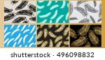 set vintage feather seamless... | Shutterstock .eps vector #496098832