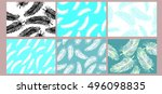 set vintage feather seamless... | Shutterstock .eps vector #496098835