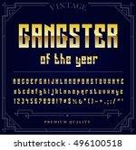 gold metallic font set. letters ... | Shutterstock .eps vector #496100518