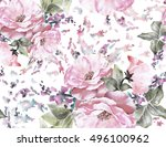 seamless pattern with flowers... | Shutterstock . vector #496100962