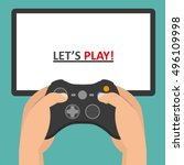holding in hands gamepad and... | Shutterstock .eps vector #496109998