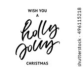 wish you a holly jolly... | Shutterstock .eps vector #496115218