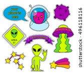 vector set of cartoon badge ... | Shutterstock .eps vector #496118116