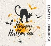 halloween background with black ... | Shutterstock .eps vector #496119535