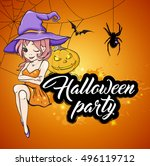 cute young witch and pumpkin on ... | Shutterstock .eps vector #496119712