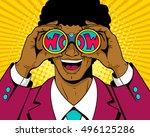 wow pop art man. surprised afro ...   Shutterstock .eps vector #496125286