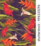 seamless tropical flower  plant ... | Shutterstock . vector #496133296