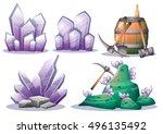 cartoon vector mine game object ... | Shutterstock .eps vector #496135492