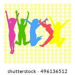 jumping people | Shutterstock .eps vector #496136512