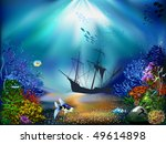 the underwater world of fish... | Shutterstock .eps vector #49614898