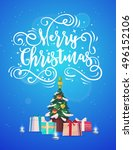 happy new year and merry... | Shutterstock .eps vector #496152106