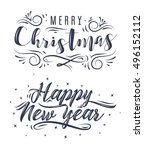 happy new year and merry... | Shutterstock .eps vector #496152112