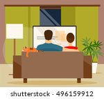 man and woman sitting on the... | Shutterstock .eps vector #496159912