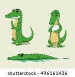 crocodile fun vector cartoon... | Shutterstock .eps vector #496161436