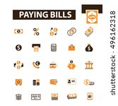 paying bills icons | Shutterstock .eps vector #496162318