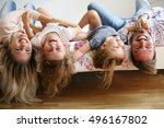 family with two children having ... | Shutterstock . vector #496167802