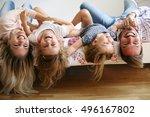 family with two children having ... | Shutterstock . vector #496167802