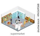 isometric interior of grocery... | Shutterstock .eps vector #496169368
