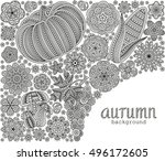 autumn background with creative ... | Shutterstock .eps vector #496172605