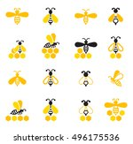 bee icon isolated on white... | Shutterstock .eps vector #496175536