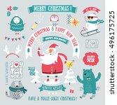 christmas greeting set. merry... | Shutterstock .eps vector #496175725