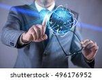 businessman in air travel... | Shutterstock . vector #496176952