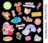 fashion patch badges with... | Shutterstock .eps vector #496179742