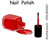 red nail polish in open flagon... | Shutterstock .eps vector #496184065
