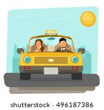 taxi graphic design in flat... | Shutterstock .eps vector #496187386