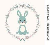 cute baby bunny rabbit in... | Shutterstock .eps vector #496188496