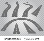 road icons collection with...   Shutterstock .eps vector #496189195