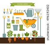 vegetable garden. garden tools. ... | Shutterstock .eps vector #496192402