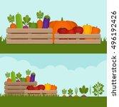 vegetable garden. organic and... | Shutterstock .eps vector #496192426