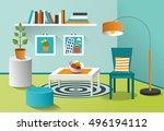interior living room. modern... | Shutterstock .eps vector #496194112