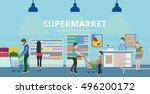 people in supermarket interior... | Shutterstock .eps vector #496200172