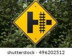 railroad crossing sign. | Shutterstock . vector #496202512