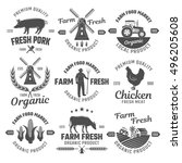 farm black white emblems with... | Shutterstock .eps vector #496205608