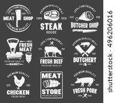 butcher shop monochrome emblems ... | Shutterstock .eps vector #496206016
