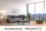 interior with sofa. 3d... | Shutterstock . vector #496206772