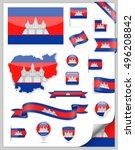 cambodia flag set   vector... | Shutterstock .eps vector #496208842