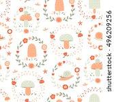 vector seamless floral mushroom ...   Shutterstock .eps vector #496209256