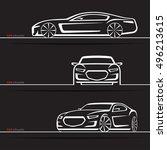 vector car silhouettes set.... | Shutterstock .eps vector #496213615