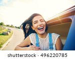 cheerful young woman with brown ... | Shutterstock . vector #496220785