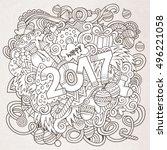 cartoon cute doodles hand drawn ... | Shutterstock .eps vector #496221058