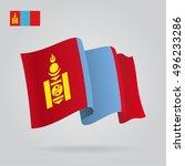 mongolian waving flag. vector...   Shutterstock .eps vector #496233286