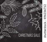 christmas sale label on winter... | Shutterstock .eps vector #496236712